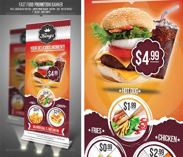 Plantilla de Roller para restaurante fast food.