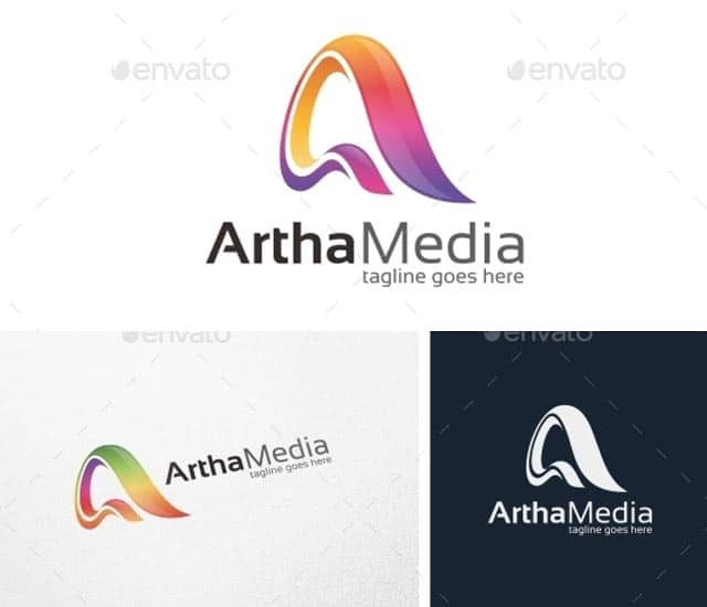 Plantilla de logotipo letra A, abstracto y colorido