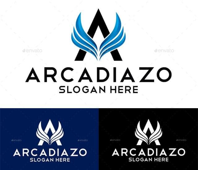 Plantilla de un logotipo de letra A con alas