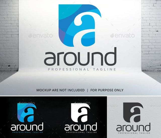 Plantilla logotipo letra A - Around