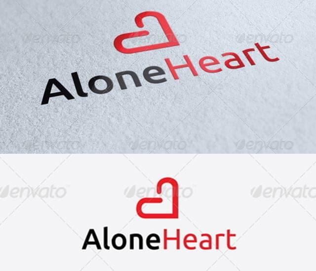 Plantilla de logotipo letra A con forma de corazón
