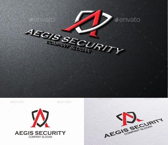 Plantilla logotipo letra A con escudo