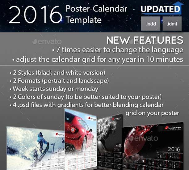 Plantilla Poster calendario del 2016
