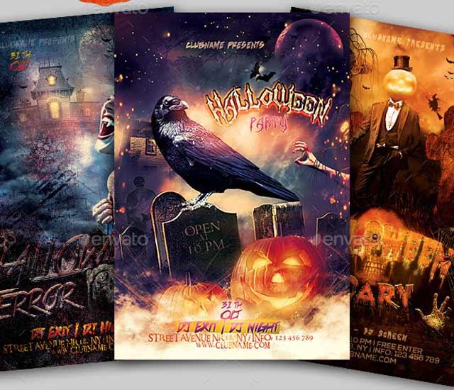 3 Diseños de Flyer fiesta de Halloween.