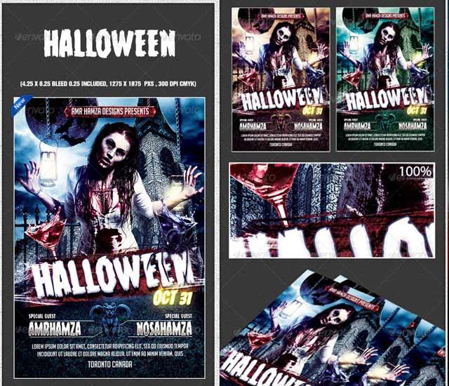 Diseño Flyer fiesta de Halloween Zombie.