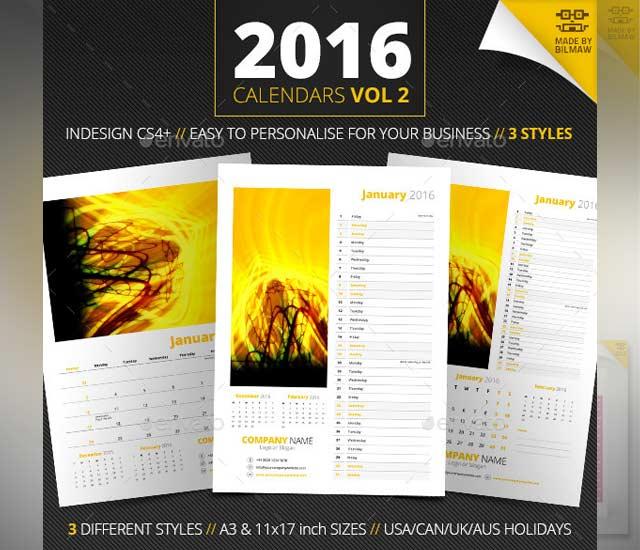 Plantilla calendario 2016