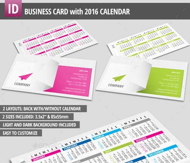 Plantilla de tarjeta de visita con calendario 2016