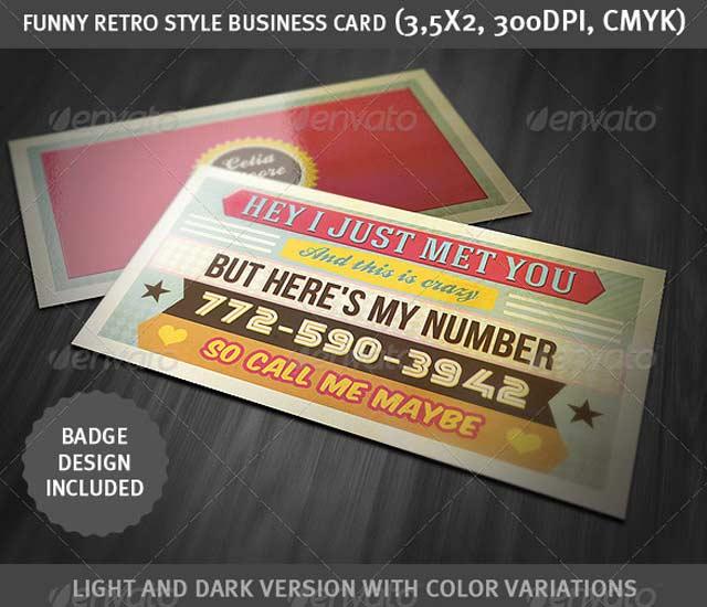 Diseño de tarjeta de visita estilo Retro
