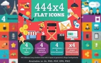 444 Iconos diseño Flat