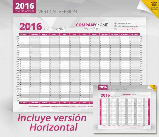 Planing de hoja completa para 2016