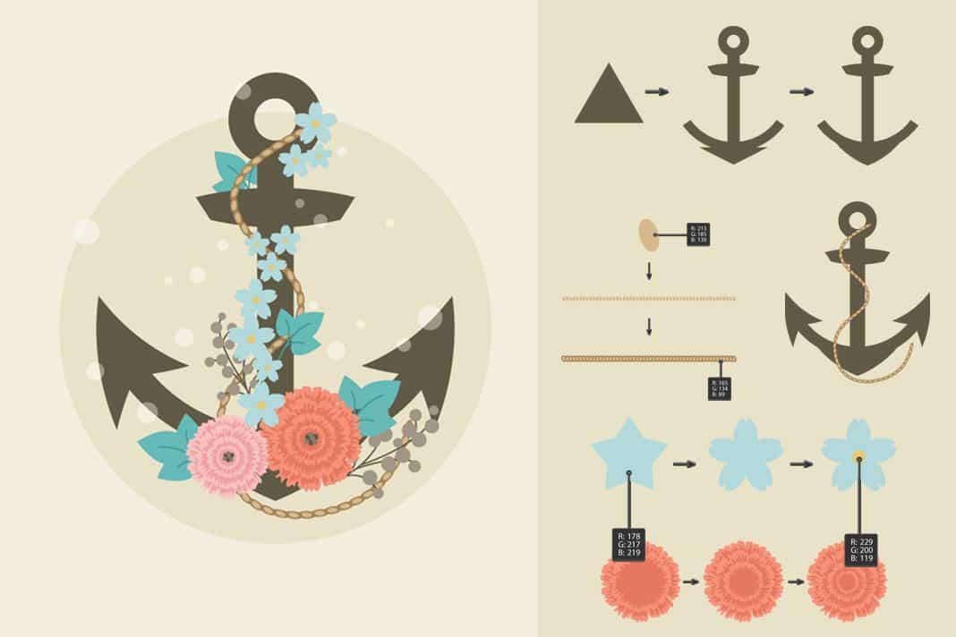 Como crear una ancla de barco en vectorial