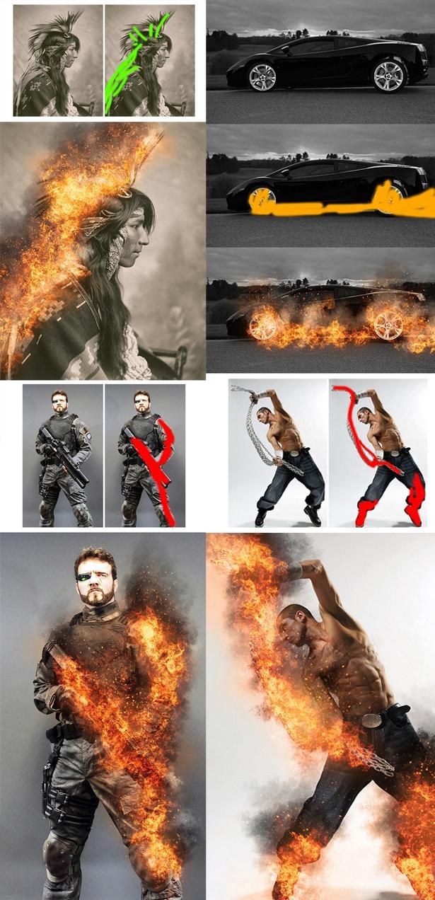 Descargar acciones de fuego para Photoshop